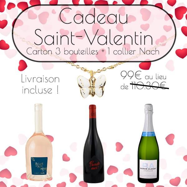 Coffret vin + collier saint valentin